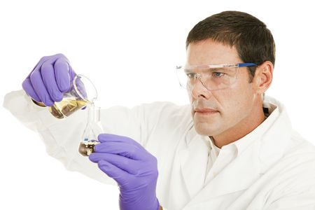 compound: Scientist pours a chemical compound from a beaker to a flask.  Isolated on white. Stock Photo