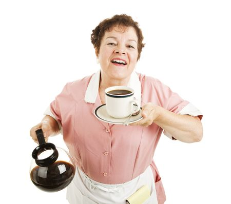 decaffeinated: Waitress inhaling the delicious aroma of fresh brewed coffee.  Isolated.