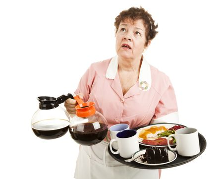 cafeteria tray: Busy overworked waitress carrying her tray and coffee pots.  Isolated on white. Stock Photo