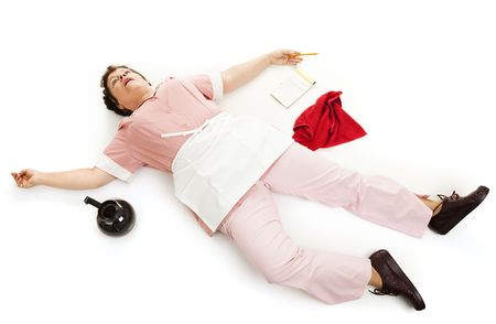 Exhausted waitress collapsed on the floor or dead.  Isolated on white. Banque d'images