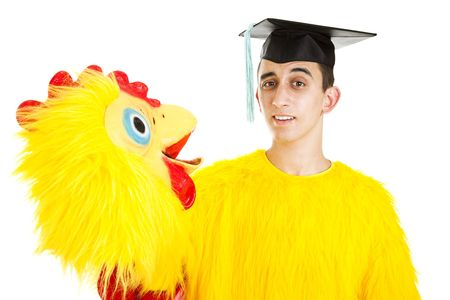 graduation suit: Recent high school or college graduate has to take a low wage job because of tight employment market.  Isolated. Stock Photo