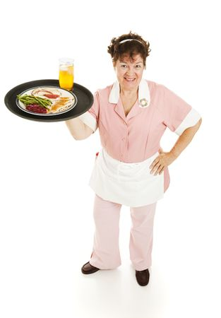 Waitress serving a turkey dinner and ice tea. Full body isolated. Stock Photo - 6543344