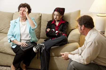 Upset mother seeks counseling with her rebellious teenage daughter.   photo