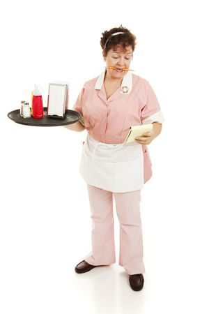 A waitress starting her shift, reading notes on her pad.  Full body isolated. Stock Photo - 6543326