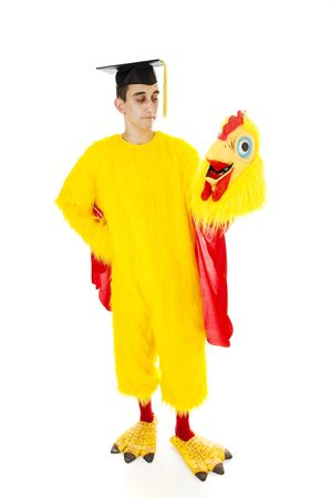 High school graduate having to work as fast food mascot because he cant afford college.  Full body isolated.   photo