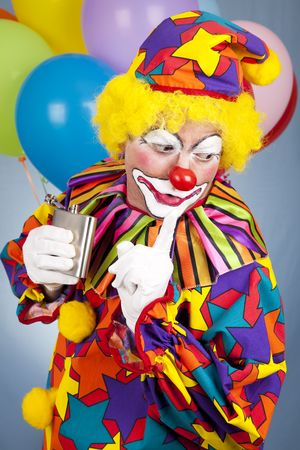 sneaking: Alcoholic clown gets caught sneaking a drink from his flask.