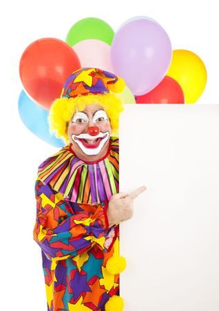 Clown holding a sign with blank space for your design.  Isolated on white. photo