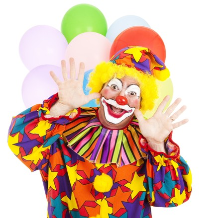 birthday clown: Funny birthday clown with balloons over white background.