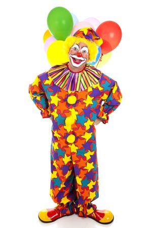 clown cirque: Funny anniversaire clown avec des ballons sur un fond blanc.
