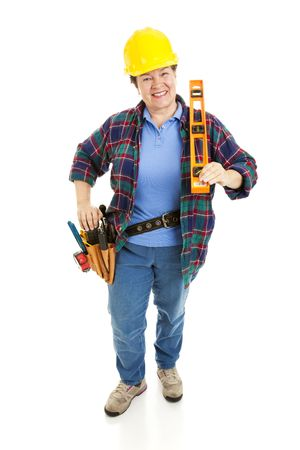 Friendly female construction worker with tools.  Full body isolated on white.   photo