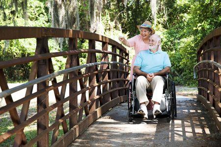 empujando: Mujer Senior empujando a su marido discapacitado a trav�s del parque en su silla de ruedas.  Foto de archivo