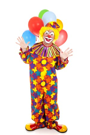 clowns: Happy birthday clown with a bunch of balloons.  Full body isolated.