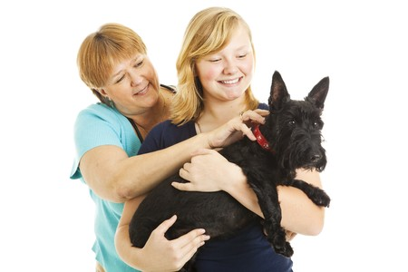 Mother, teen daughter, and adorable Scotty dog.  Isolated on white. photo