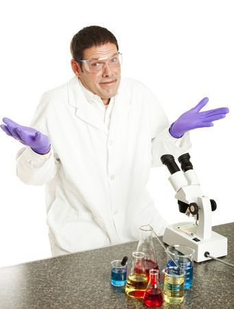 cant: Scientist shrugging because he cant solve the problem.  Isolated on white.