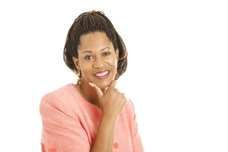 africanamerican: Beautiful african-american businesswoman isolated on white background.