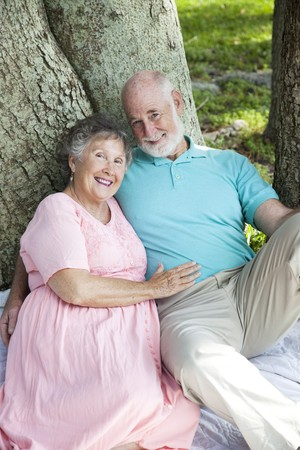 Beautiful senior couple enjoys a romantic moment in the park. Stock Photo - 7433673
