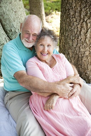 Senior couple deeply in love after many years of marriage.   photo