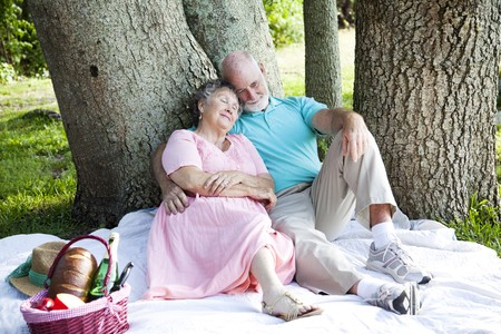 Senior couple relaxing on a picnic in the park.   photo