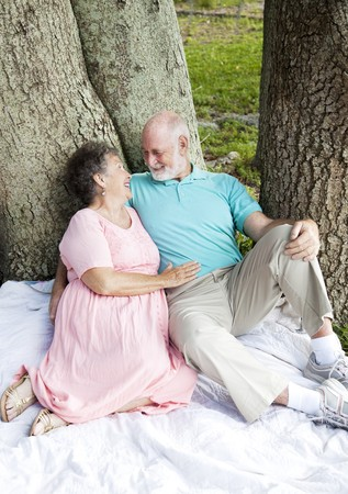 Senior couple on a romantic date in the park.  Vertical view, full body.   photo