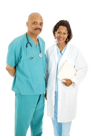 Friendly, attractive African American medical doctors.  Isolated on white.   photo