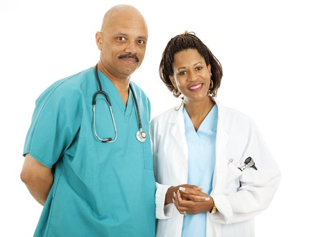 Beautiful african-american medical doctors isolated on white background.   photo
