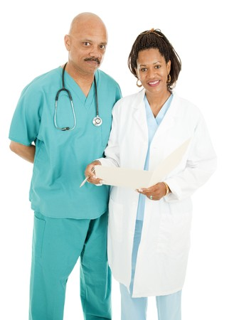 Male and female african-american doctors isolated on white.