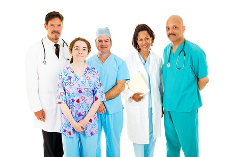 trustworthy: Trustworthy, diverse medical team isolated on a white background.