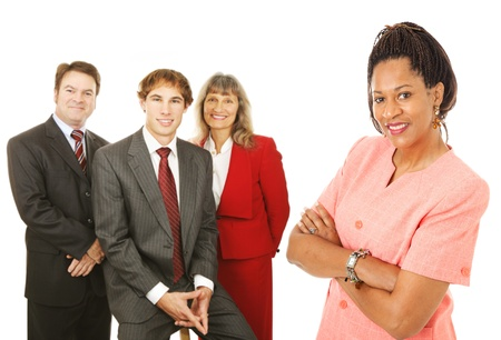 Portrait of friendly, competent business people.  Isolated on white.   photo
