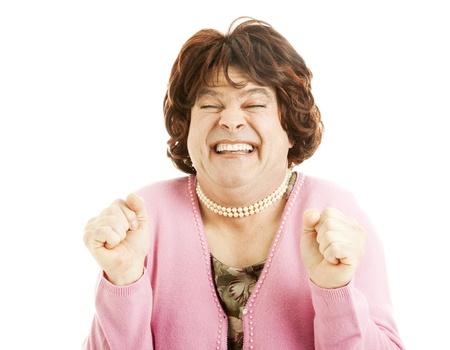 transexual: Foto humor�stico de un imitador de mujeres que es realmente entusiasmado. Aislados en blanco.