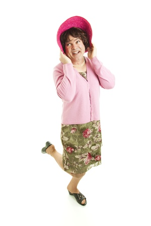 Humorous man dressed as a woman. Stock Photo