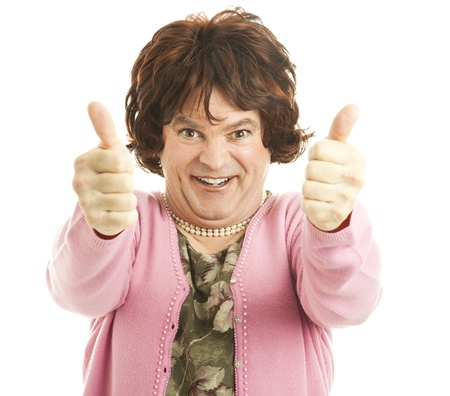 fake smile: Funny female impersonator giving two enthusiastic thumbs up!  Isolated on white.