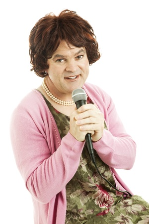 unattractive: Female impersonator dressed as an unattractive middle-aged singer.  Isolated on white.