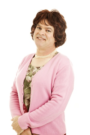 Portrait of a man dressed as a woman.   photo