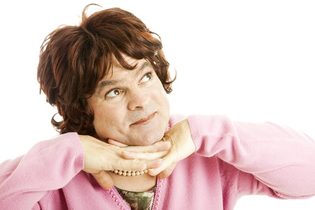 daydream: Man dressed as woman, using his imagination to daydream.  White background.