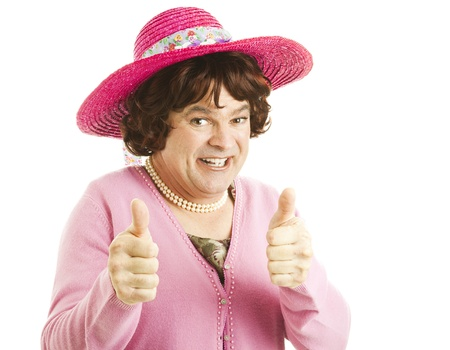 unattractive: Funny image of a man, dressed as a woman, giving two thumbs up.  Isolated on white.