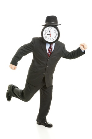 Faceless businessman running late for work.  His face is a clock that reads 8:55 am.  Full body isolated on white.   photo