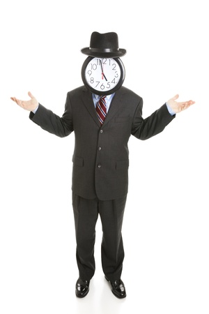 Faceless businessman with a clock for a face, shrugging his shoulders.  Full body isolated on white. photo