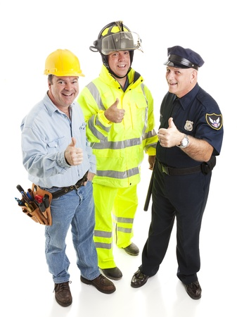Group of blue collar workers - construction worker, fireman, police officer - giving thumbsup sign.  Full body isolated.   Stock Photo