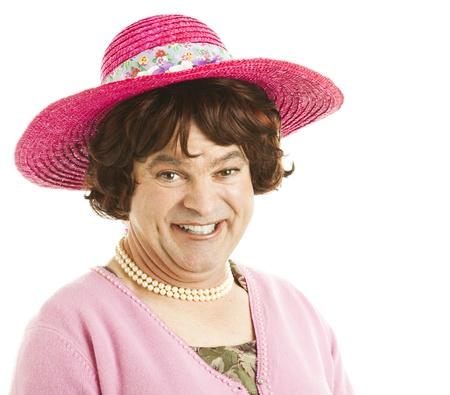 unattractive: Humorous portrait of a transvestite celebrity impersonator.  Isolated on white.