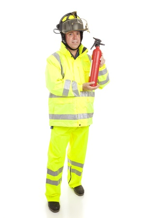 sheild: Fire fighter with fire extinguisher.  Full body isolated on white.