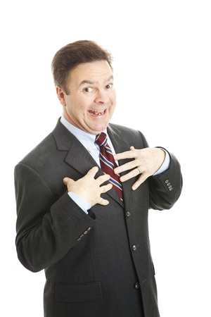 modest: Modest businessman surprised by praise.  Isolated on white.