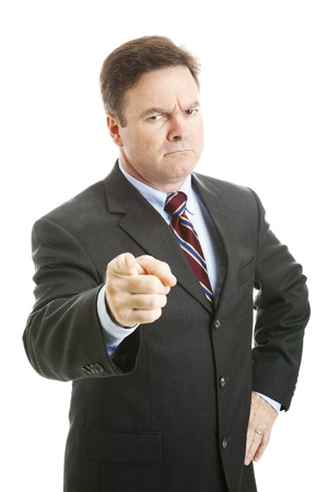 personne en colere: D'affaires en col�re secoue son doigt d'une mani�re gronder. Isol� sur fond blanc.