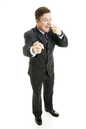 touching noses: Businessman making the on the nose gesture from the game charades.  Full body isolated on white.   Stock Photo