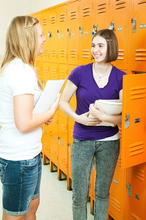 Two teenage girls chatting by their lockers in the school hallway.   Banco de Imagens