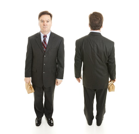 Front and back views of a mature businessman holding a bag lunch.  Full body isolated.  (larger size because two images are composited together.) photo