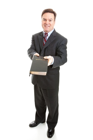 Christian businessman or Bible salesman spreading the word of God.  Full body isolated on white.
