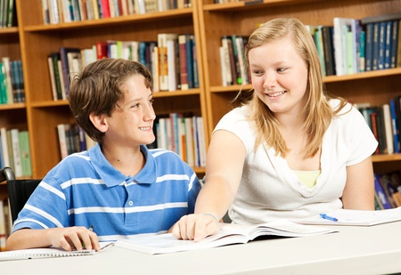 Little boy in wheelchair is tutored by a teenage girl, in the school library.  photo