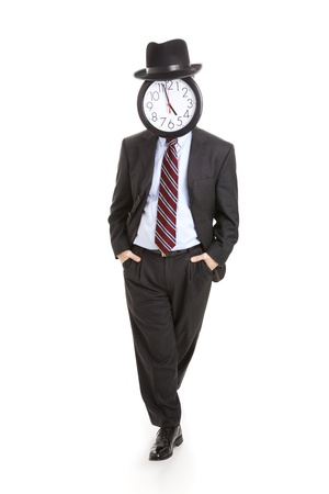 impersonal: Casual, relaxed businessman with a clock for a face.  Full body isolated on white.   Stock Photo