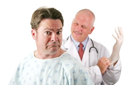 colonoscopy: Nervous patient about to be examined by a doctor.  Isolated on white.   Stock Photo