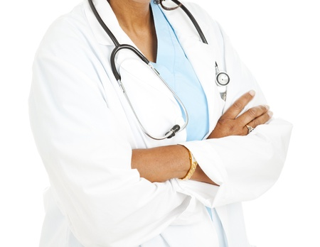 Ethnic, brown skinned female doctor on a white background.